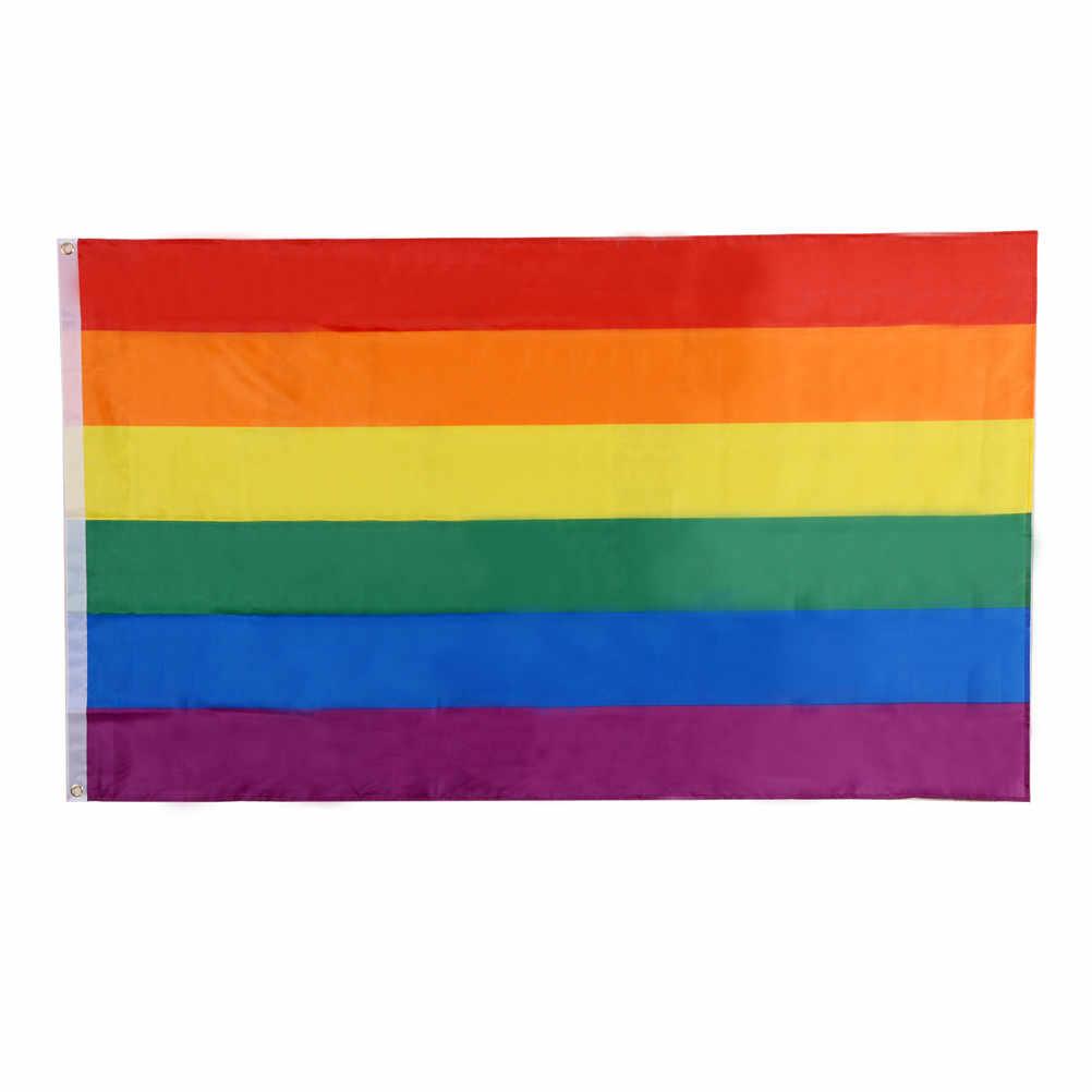 قوس قزح العلم الملونة قوس قزح السلام أعلام و راية LGBT فخر LGBT العلم المثليات المثليين موكب أعلام ديكور المنزل 150*90 سنتيمتر