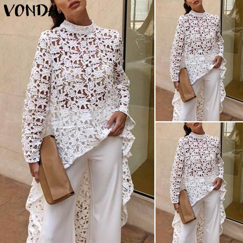 Fashion Women Blouses 2019 Plus Size Tunic Lace White Blouse And Tops VONDA Summer Sexy Irregular Hem Hollow Out Tops 5XL Shirts