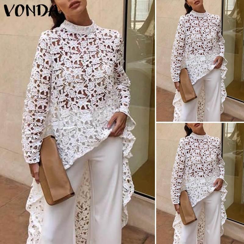 Sexy   Blouse   Beach Blusas VONDA Women Lace   Blouse   White Tops 2019 Summer Tunic Sexy Irregular Hem Hollow Tops Casual   Shirts   S-5XL