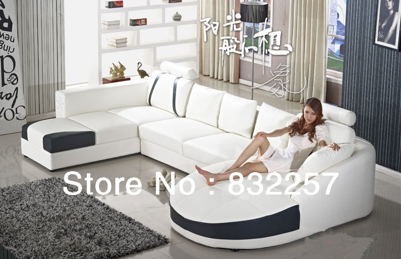 Free Shipping Hot New Style Living Room Genuine Leather Sofa European Fashion Top Black And White Corner Set In Sets From