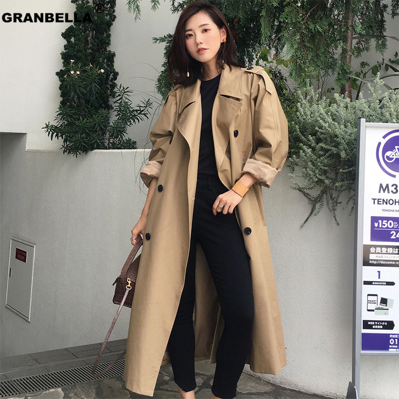 High quality camel Trench Coat Casual women's long Outerwear loose clothes for lady with belt winter fashion windbreaker TR003