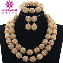 Charms 2 Layers Wedding Jewelry Accessory for Brides Gold Metal Rhinestone African Jewelry Set Collar Necklace Set WE061
