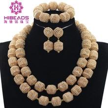 Charms 2 warstwy akcesoria do biżuterii ślubnej dla narzeczonych złoty Metal Rhinestone afrykańska biżuteria zestaw naszyjnik obroża zestaw WE061
