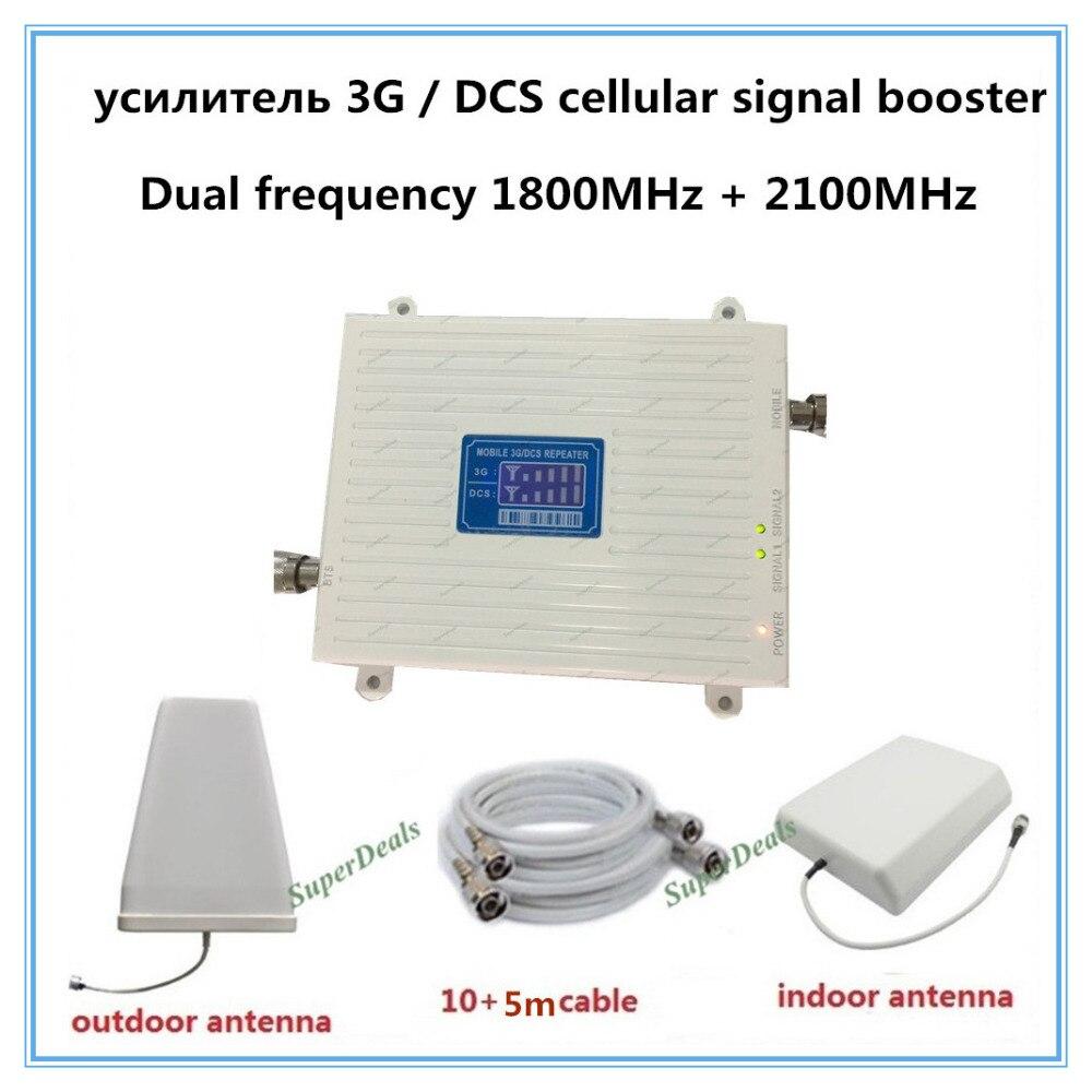 Amplificateur de signal cellulaire à double bande 2g 4g lte 1800 MHz dcs booster UMTS 3g 2100 MHz amplificateur de répéteur