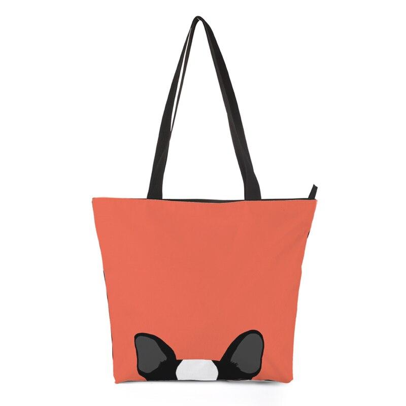 CROWDALE DIY Customizer Große Größe Frauen Taschen bulldog muster serie handbagshopping tasche Gedruckt leinwand schulter tasche 44,5 cm * 35 cm
