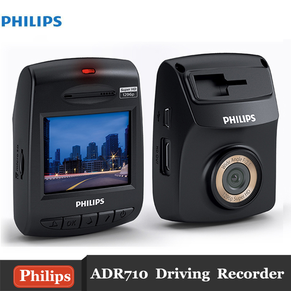 Original Philips ADR710 Dash Cam 2 Inch 1296P 145 Degree Car DVR Driving Recorder Support WDR G-sensor bigbigroad for nissan qashqai car wifi dvr driving video recorder novatek 96655 car black box g sensor dash cam night vision