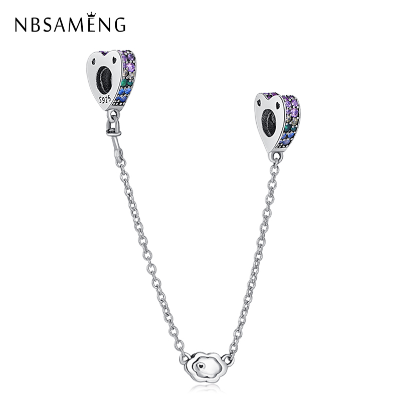 Authentic 925 Sterling Silver Colorful CZ Safety Chain Beads Fit Original Pandora Charm Bracelet 925 Sterling Silver DIY Jewelry