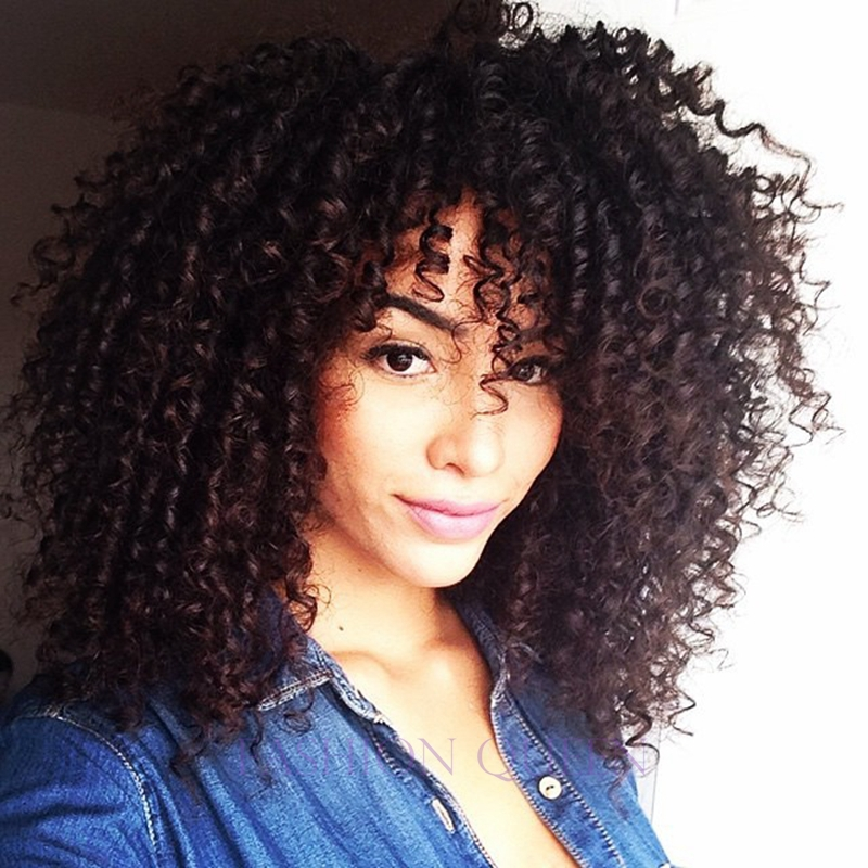 2016 Newest Medium Long Afro Kinky Curly Wig Synthetic Wig