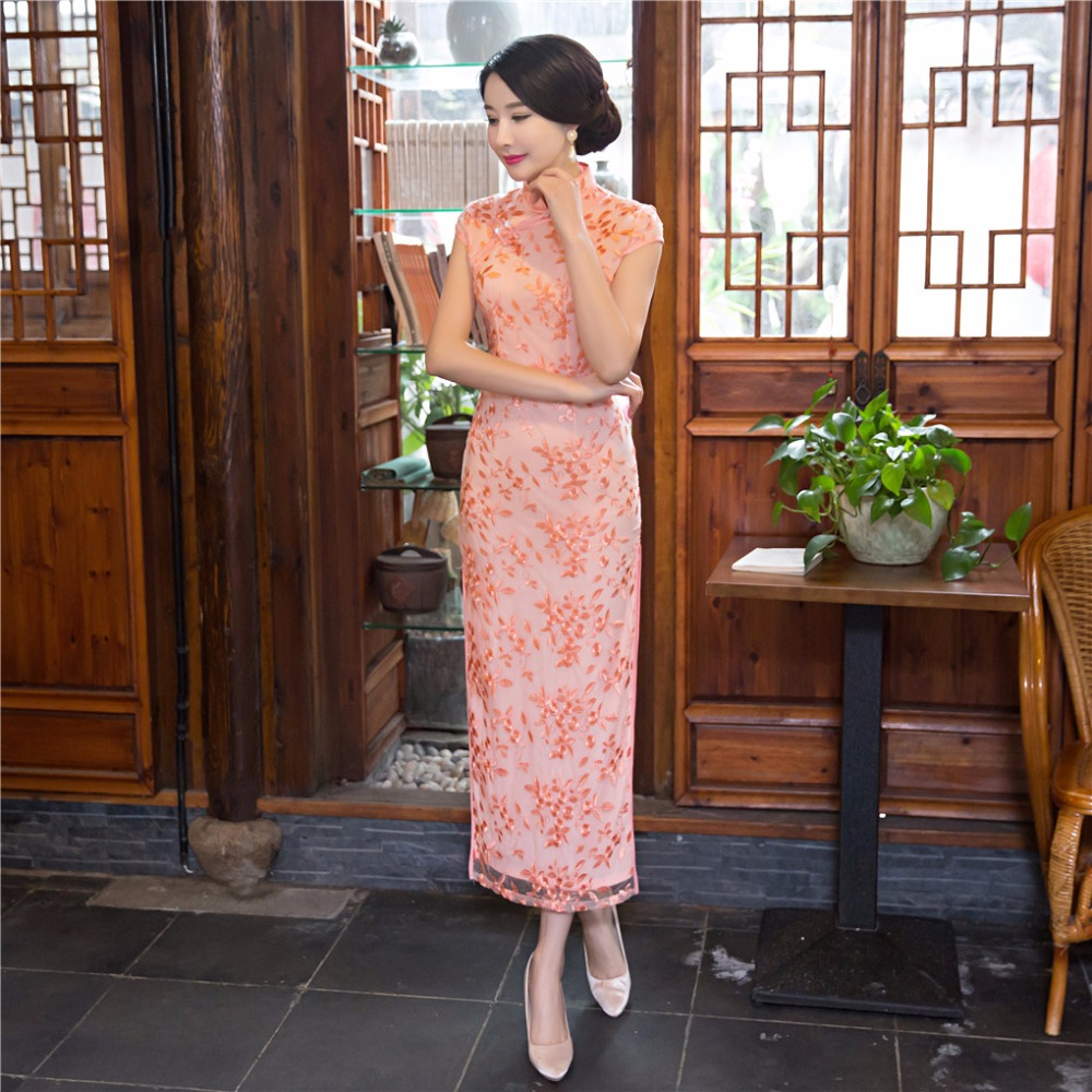 Shanghai Story Blend Cotton Floral Qipao Chinese Women's Clothing Long Cheongsam Dress Lace Qipao For Ladies