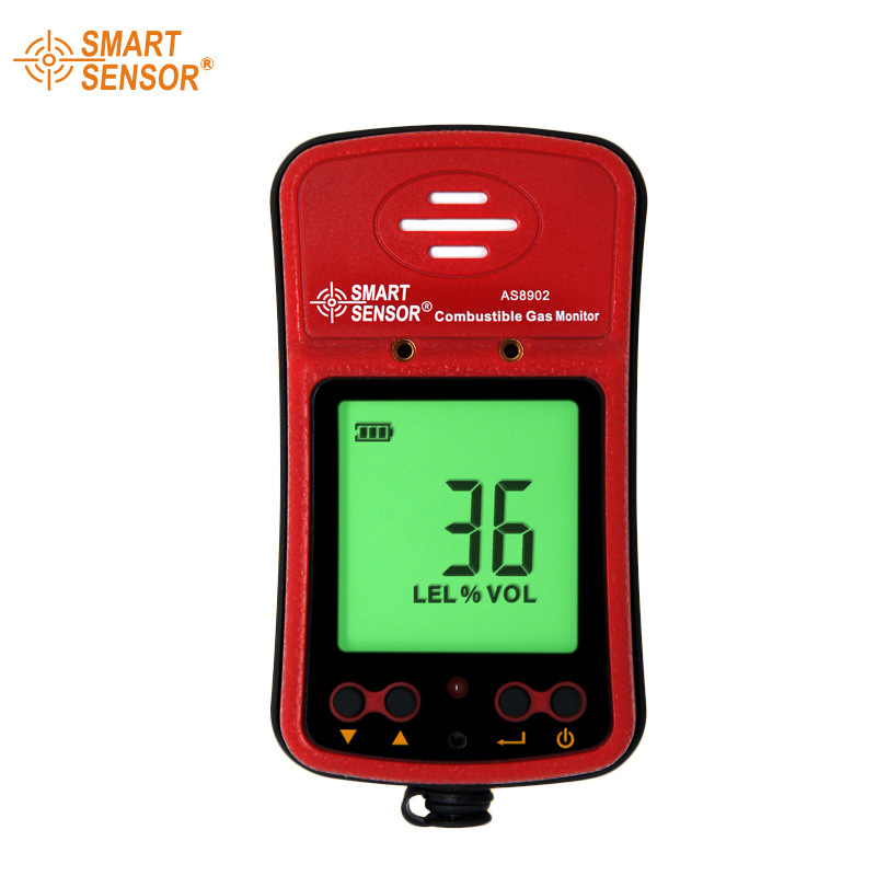 AS8902 High Sensivity Natural Gas Meter Large LCD Backlit Alarm Digital Combustible Gas Leak Detector