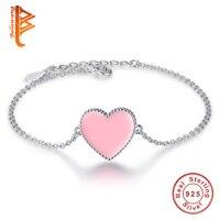 Аутентичные 925 Серебряный браслет для маленьких девочек Розовое сердце Эмаль сердца подарок ювелирные изделия для детей