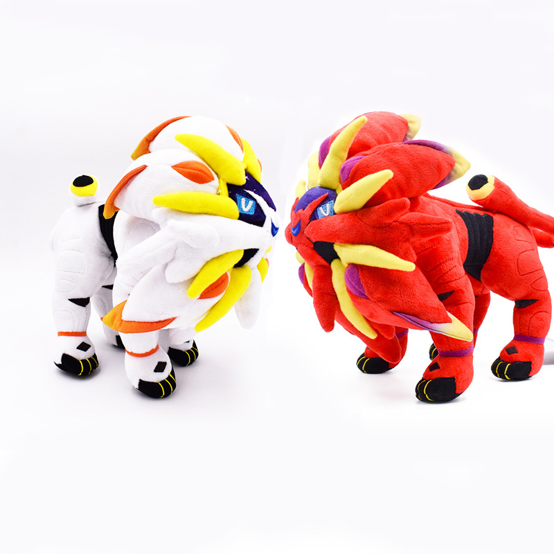 """2Styles New Arrival 2018 Red and White Solgaleo Stuffed Plush Toys For Children Doll 10"""" 25cm Kids Toys Gifts Free Shipping(China)"""