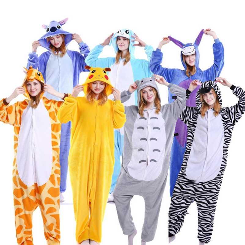 Для взрослых Детские зимние штаны женщина всего Пижама Единорог стежка костюм  фантазии животных Аниме Косплэй 597e734d72c0c