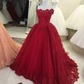 Borgonha Longo Árabe vestidos de Noite Vestidos de 2017 Barco Pescoço Inchado vestido de Baile Lace Mulheres Evening Formal Vestidos Com Trem Da Varredura