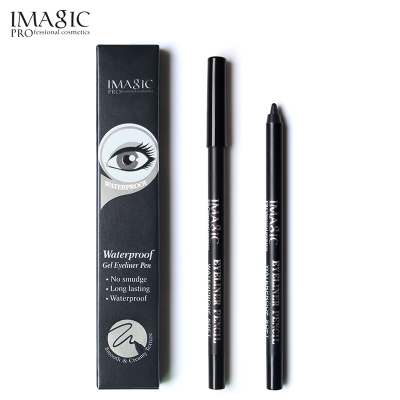 IMAGIC Gel Eyeliner Pencil Retractable Pen 24H Vattentät Form Makeup Non-Flam Long Långt Svart Eye Liner