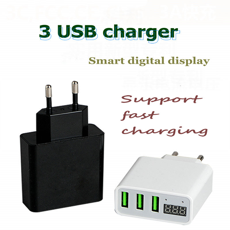 Port Charger Adapter With Digital Display: 3 Port Professional Smart Digital USB Quick Charger IPhone