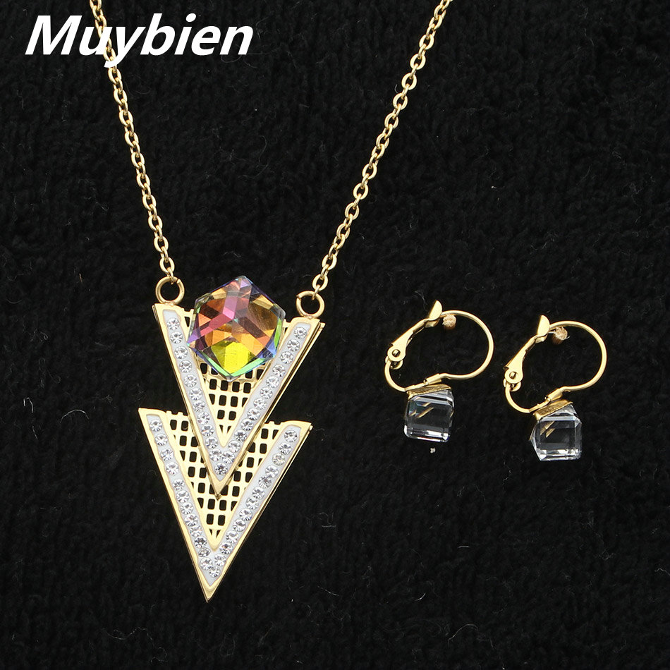MUYBIEN High-quality Fashion Gold-color Wedding Jewelry Sets Noble Colorful CZ Necklace Earrings set for Women SGGKAVCA