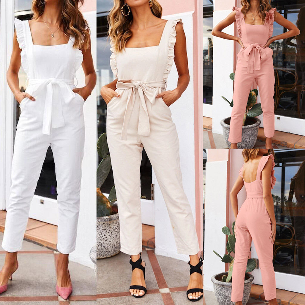 Women Linen Shirred Frill Sleeves Pockets High Waist Long Length Jumpsuit Ladies Belted Summer Holiday Combinaison Femme #5
