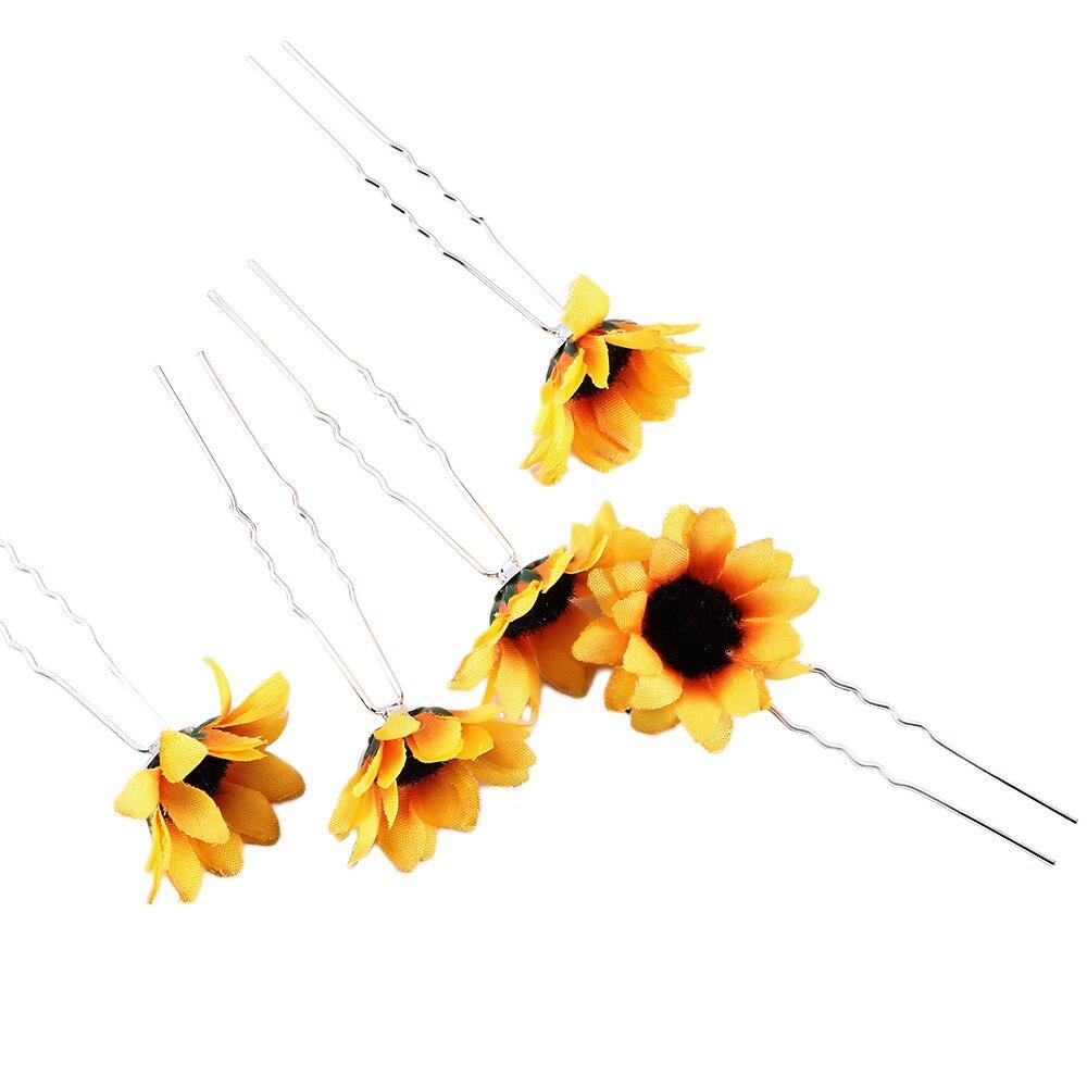 Loyaal Nieuwe 5 Pcs Geel Handgemaakte Boho Zoete Daisy Flower Haarspelden Pretty Bruidsmeisje Decor Wedding Party Zonnebloem Hoofddeksel Accessoires 100% Origineel