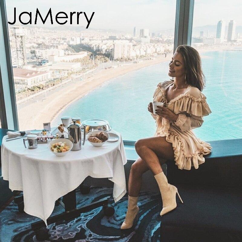 JaMerry Sexy Ruffled Women Mini Party Dress Elegant Long Sleeve Mesh Lining Short Dress High Waist Ladies Dresses Vestidos