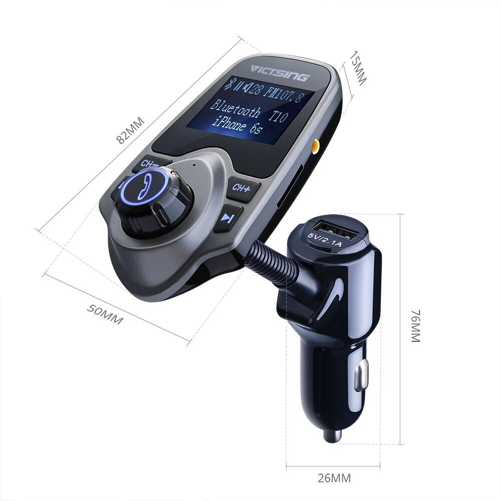 """מקרנים ופלאזמות VicTsing Bluetooth FM משדר USB מטען לרכב אלחוטי לרכב עם 3.5 מ""""מ אודיו נמל מוזיקה MP3 Player עם 1.44 אינץ"""