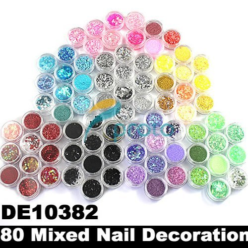 80 Pots of Mixed Styles with Glitter Paillette Spangles Beads Powders for Nail Art Decorations SKU:D0033
