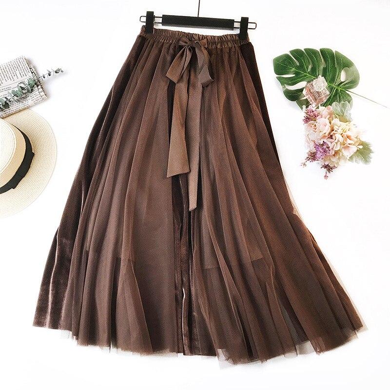 Fashion Pleated Skirt Female Casual Lace-Up women skirt Vintage Blue Patchwork Tutu Skirt Women High Waist Long Maxi Skirt