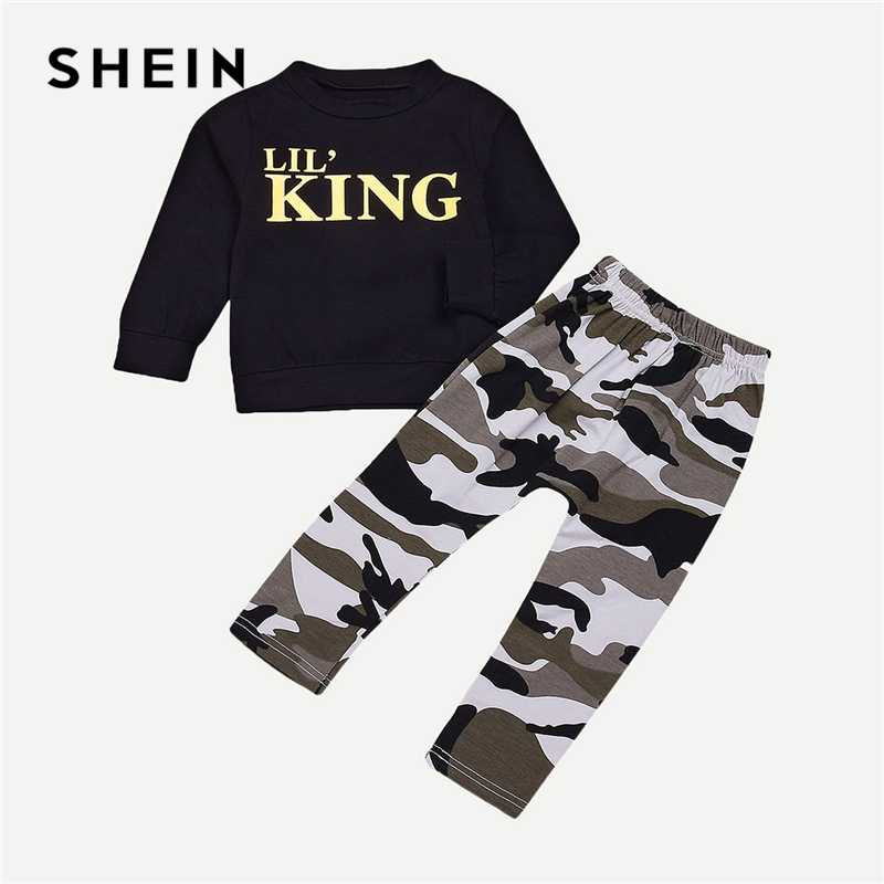 SHEIN Kiddie Toddler Boys Letter Print Sweatshirt And Camo Print Pants 2019 Spring Fashion Long Sleeve Casual Kids Clothing men tape side letter print drawstring pants