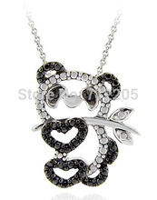 30pcs a lot  hot sale rhodium plated lovely National treasure panda crystal pendant necklace