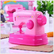 Toys For Baby Kids Pretend Toy Dollhouse Miniature Sewing Machine Pink Toys Furniture for Dolls Children Seam Seam Machine(China)