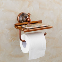 Luxury Brass Roll Toilet Paper Holder Bathroom Tissue Holder Mobile Phone Storage Shelf Rack Could be Installed Without Drilling