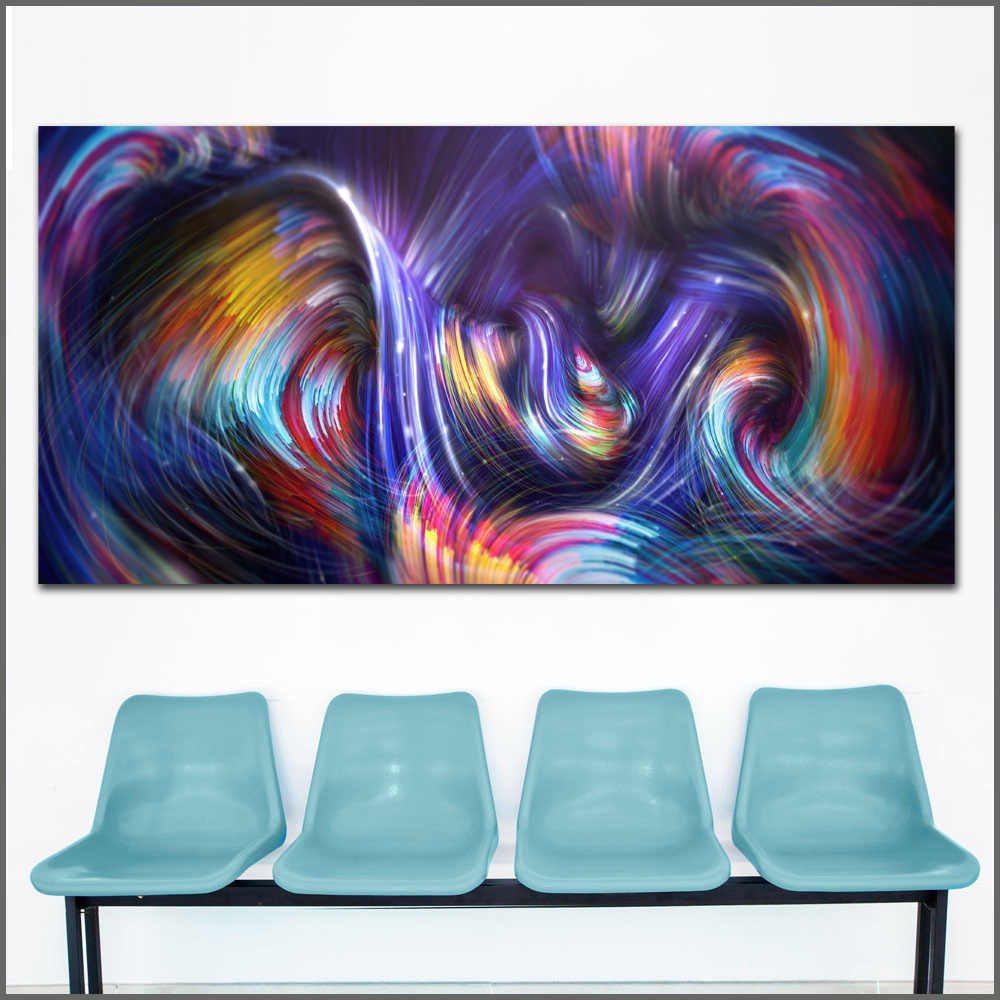 Abstract Waves Forces Colorful Wall Art