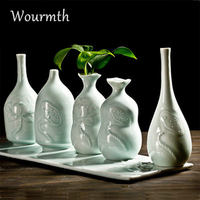 Wourmth Celadon engraving small vase Porcelain Vases Modern Fashion Ceramic Flower container Study room Wedding Decoration