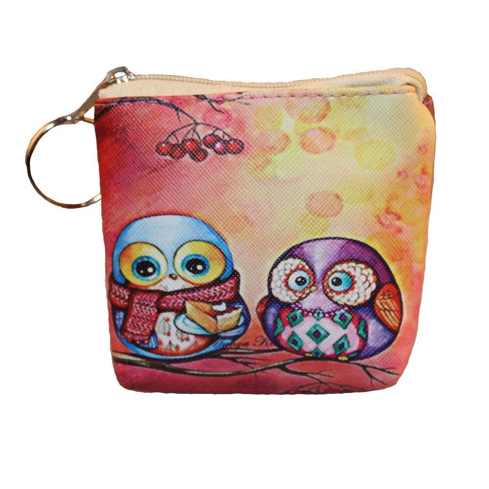 Rainbow girl Red Cute Owl Coin Purse Kawaii Cartoon Children Plush Coin Purse Zip Change Purse Wallet Kids Christmas Gift