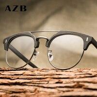 6cafe4d27c9 AZB handmade wood grain plate myopic glasses frame retro hot fashion  imitation plain glasses glasses BC01