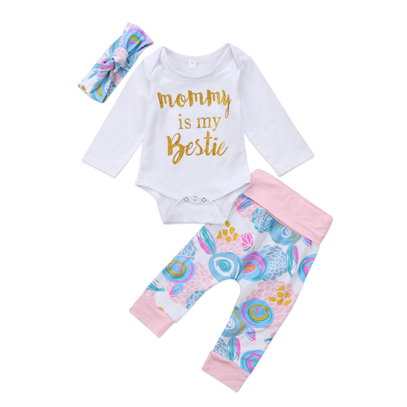 New Casual Newborn Toddler Baby Girls Clothing Romper Floral Long Pants Leggings 3pcs Clothes Outfits Set 3-24M