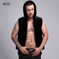 NGSG Men's Fur Vest With Hat Black Real 100% Genuine Mink Fur Hooded Men Fur Vests Smooth Sleevess Outerwear Male Luxury V001