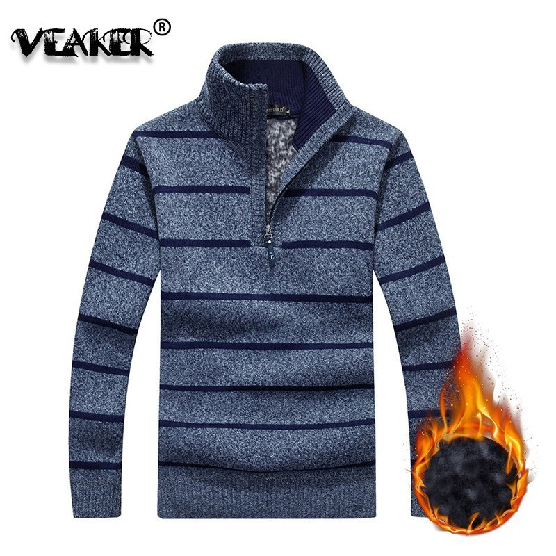 Men's Sweaters Jacket Knitted-Clothing Long-Sleeve Zipper Wool Autumn Winter Casual Thick