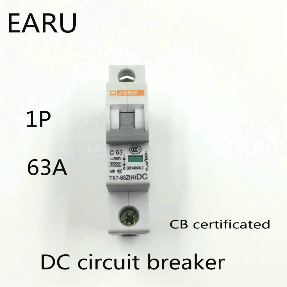 1P 63A DC 250V DC Circuit Breaker MCB for PV Solar Energy Photovoltaic System Battery C curve CB Certificated Din Rail Mounted цены