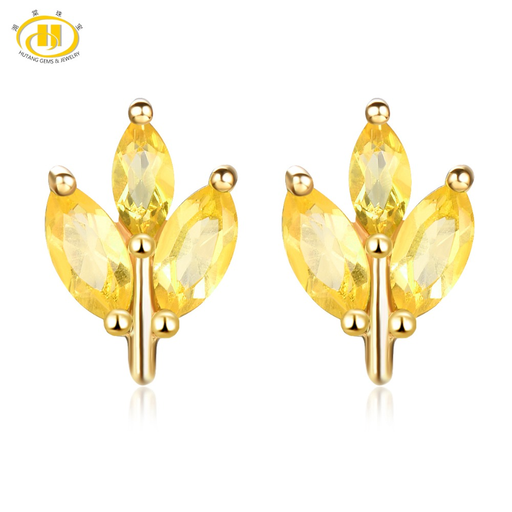 Hutang Stone Jewelry Natural Gemstone Citrine Solid 925 Sterling Silver Buds Leaf Earrings Spring Fine Fashion Jewelry For Gift artificial gemstone leaf teardrop earrings