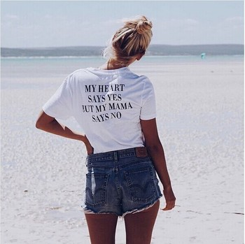 BKLD Women Clothes Summer 2019 Streetwear Top White Short Sleeve Women T Shirt With Letter MY HEART SAYS YES BUT M Y MOM SAYS NO