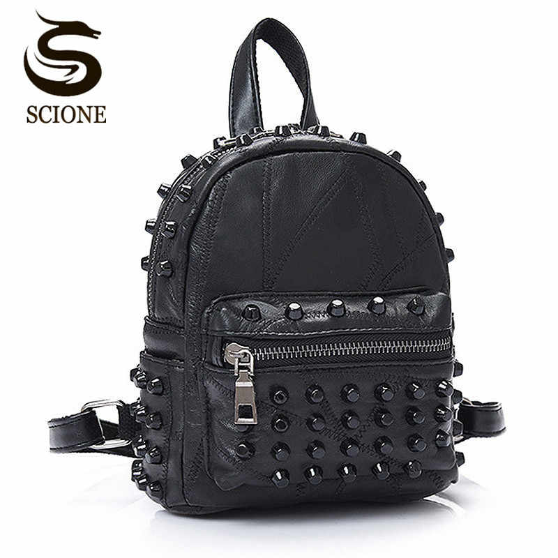 Women Small Good Leather Backpack Rivet Bagpack Daily Cute Black Backpack for Teenager Girls Schoolbag Casual Travel Rucksack