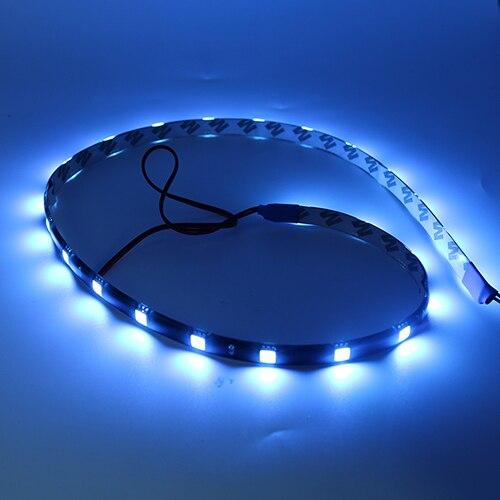 """2 x 30 cm 11/"""" 15 DEL 3528 SMD Bleu Flexible DRL Strip Light Waterproof Voiture Décor"""