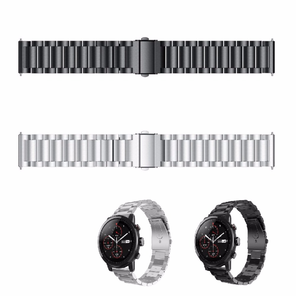 Link-Strap Bracelet Watch-Band Stratos Quick-Release-Link Stainless-Steel for Huami 2/2s