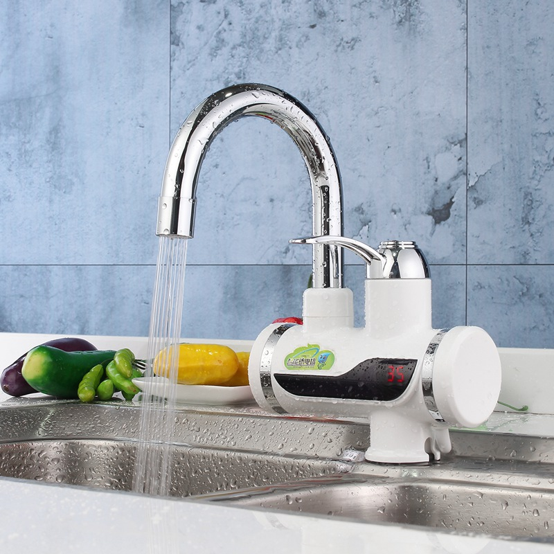 led digital kitchen basin faucet tap mixer au plug 220v instant electric water heater bathroom shower - Kitchen Basin Sinks