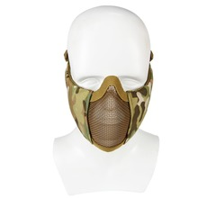 Airsoft Mask Half Lower Face Metal Steel Net Mesh Mask Hunting Cycling Tactical Protective CS Halloween Party Half Face Mask tactical half face metal steel net mesh mask hunting protective guard mask airsoft ear protection half face mask