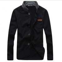 2017 Men's Coat Hot Sale Autumn Outerwear & Coats Casual Jackets Stand-collar Overcoat Embroidered Standard Male Knit Jacket 5XL