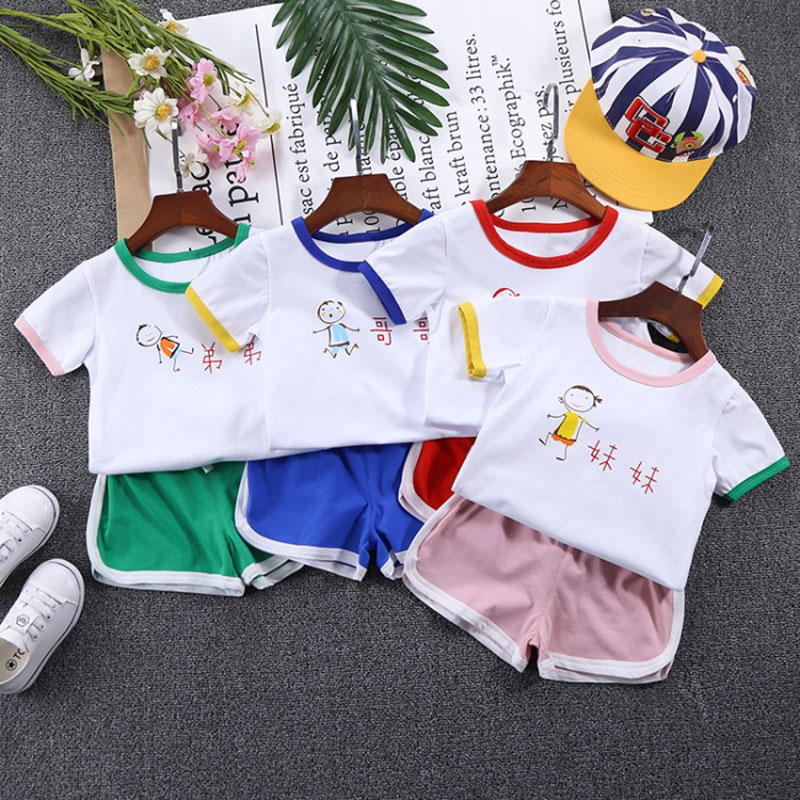 Summer Children Boys Girls Clothing Sets Kids Print T-Shirt Shorts 2Pcs/Sets Toddler Leisure Sport Suits Baby Cotton Tracksuits