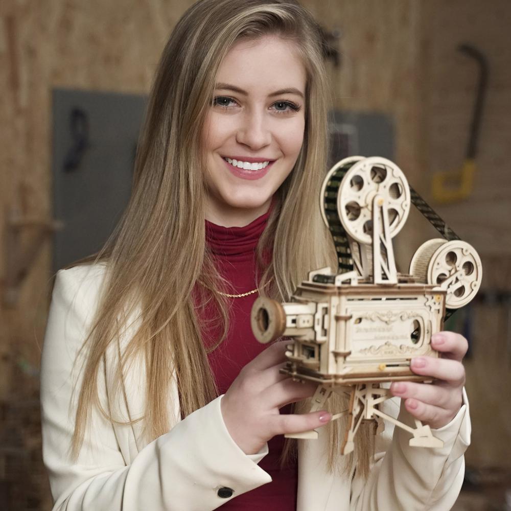 Robotime 2019 Nouvelle Arrivée Main Manivelle Diy 3D Flim Projecteur En Bois Jeu de Puzzle Assemblée Jouet Cadeau pour Enfants Adulte LK601 - 3