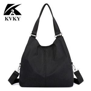 Image 1 - Популярная женская сумка, повседневная большая сумка на плечо, нейлоновая сумка тоут от известного бренда, фиолетовые сумки для мам, водонепроницаемые сумки черного цвета